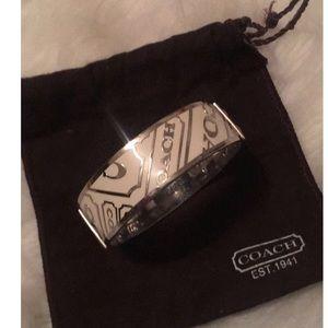 Coach white and silver medium bangle bracelet